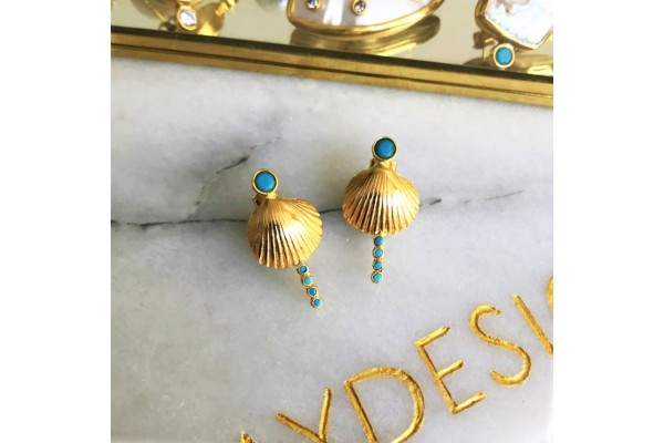 Scallop Verti Earring - Turquoise