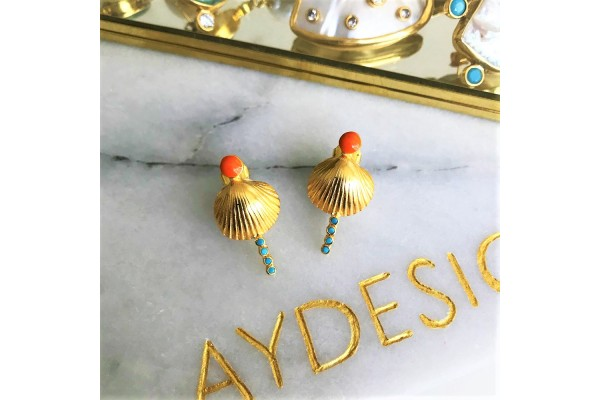 Scallop Verti Earring - Coral & Turquoise