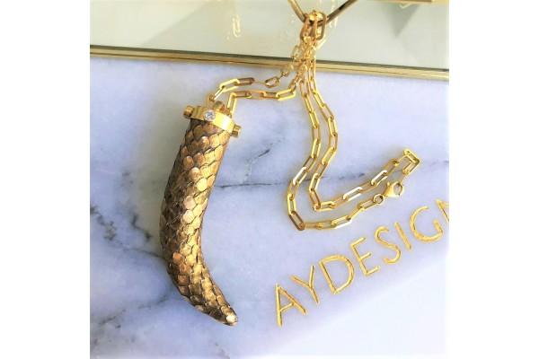 Gold Python & Zircon Necklace