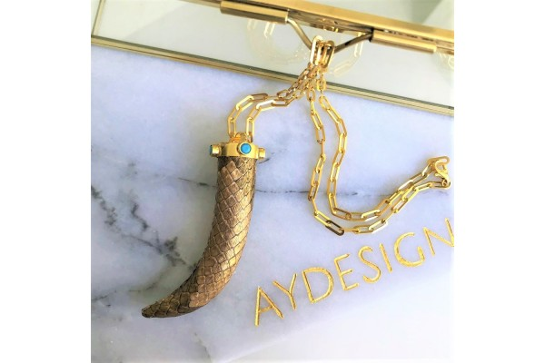Gold Python & Turquoise Necklace