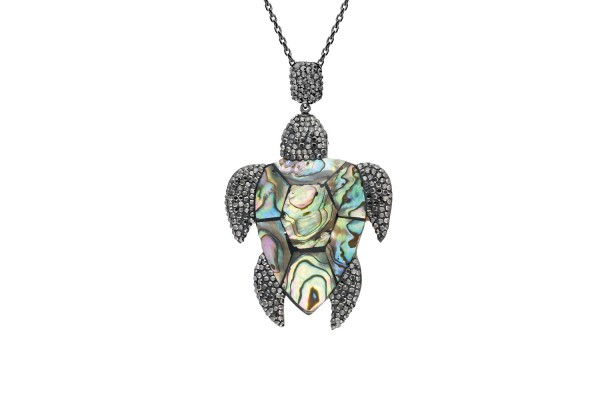 TURTLE ADDICTION LONG NECKLACE - HEMATITE