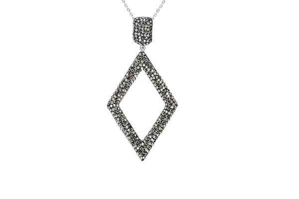 DIAMOND LONG NECKLACE  - LIGHT HEMATITE