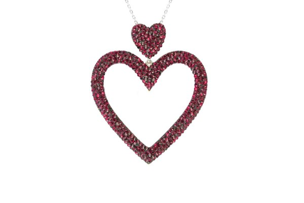 DUAL HEART LONG NECKLACE  - AMETHYST