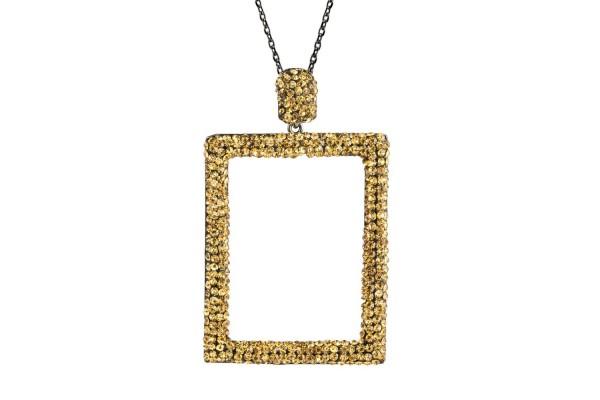 RECTANGULAR LONG NECKLACE  - GOLD