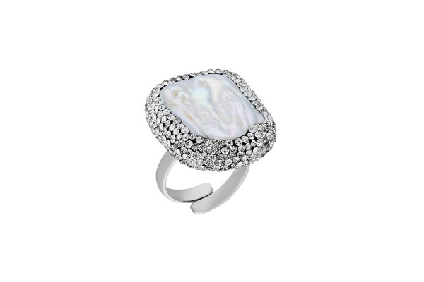BAROQUE PEARL RING - ZIRCONE WHITE