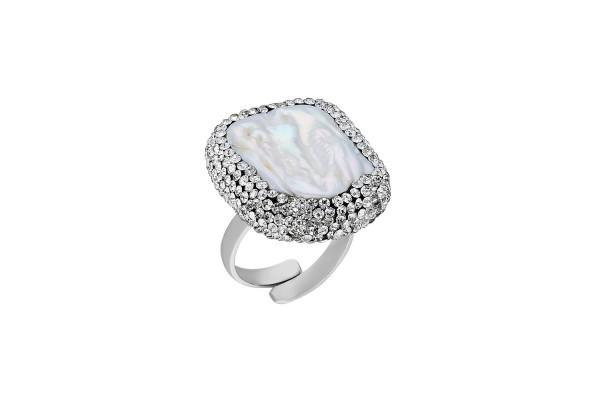 BAROQUE PEARL RING - ZIRCONE WHITE