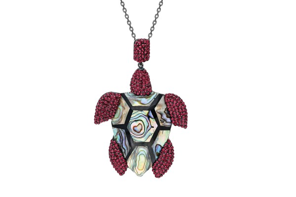 TURTLE ADDICTION LONG NECKLACE - AMETHYST