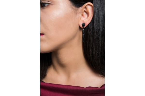 BATON EARRING - BLACK