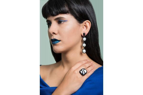 FANTASY BAROQUE PEARL RING - BLACK
