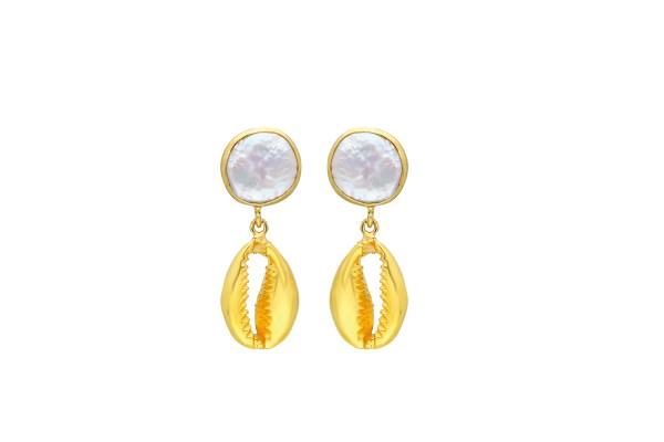 Cowry Pearl Earring