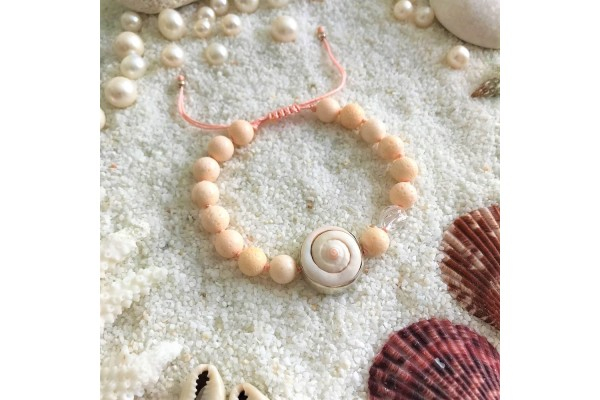 Pink Coral and Sea Shell Bracelet