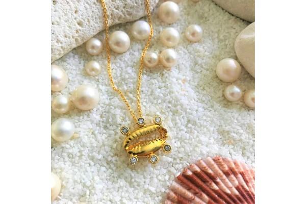 Multiple Zircone Cowry Necklace