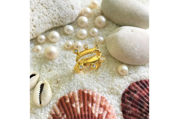 Multiple Zircone Cowry Ring