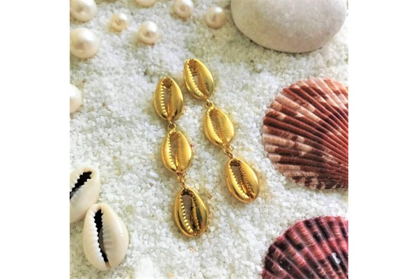 Triple Cowry Earring - Small Size
