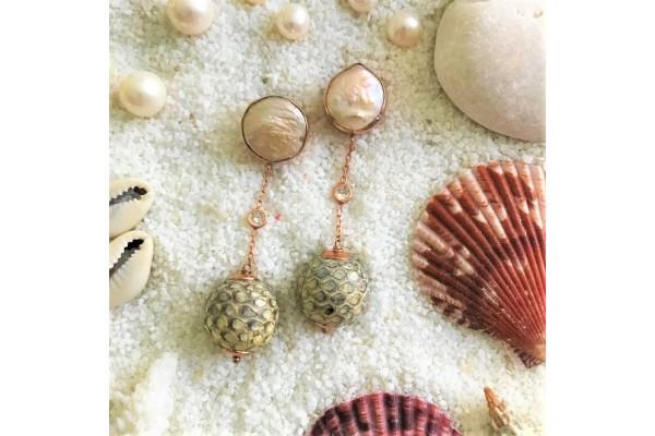 Pearl & Python Earring