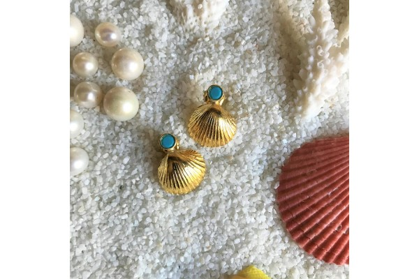 Scallop Turquoise Earring