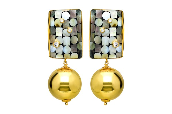 Earring with Dark Color Mother Of Pearl, Zircone and Gold Plated Silver