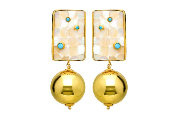Earring with Light Color Mother Of Pearl, Turquoise Color Zircone and Gold Plated Silver