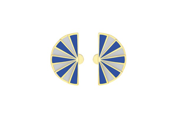 FAN EARRING - SOFT GREY & DARK BLUE ENAMEL