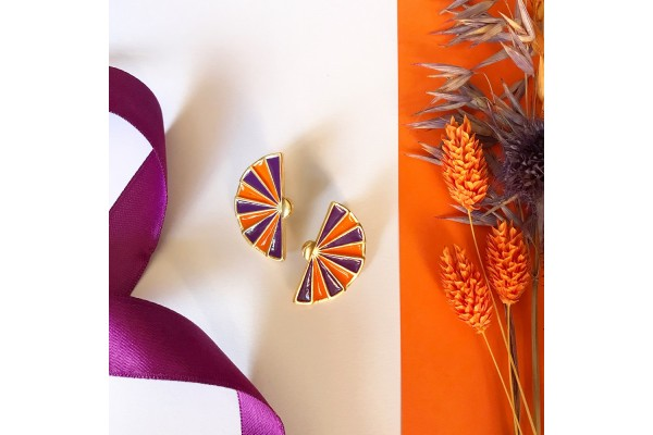 FAN EARRING - PURPLE & ORANGE ENAMEL