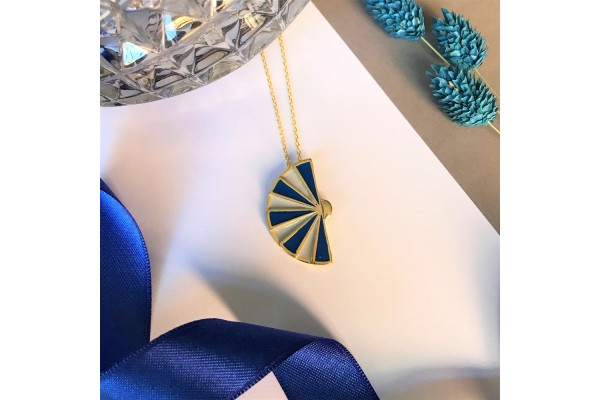 FAN NECKLACE - SOFT GREY & DARK BLUE