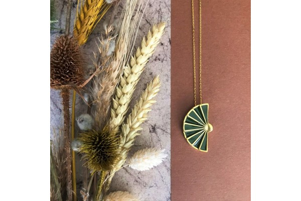 FAN NECKLACE - KHAKI ENAMEL