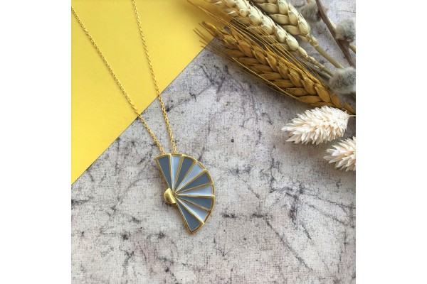 FAN NECKLACE - SOFT GREY & DARK GREY