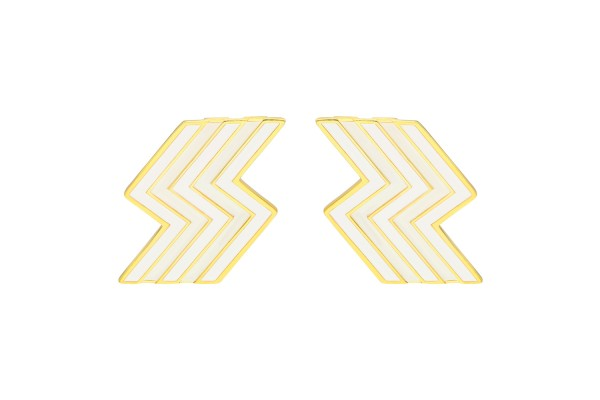 FLASH EARRING - WHITE ENAMEL