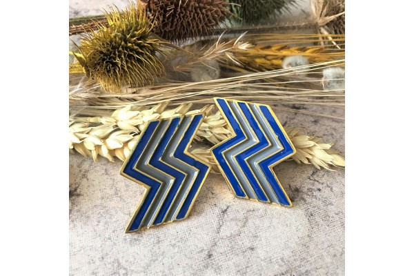 FLASH EARRING - DARK GREY & DARK BLUE ENAMEL