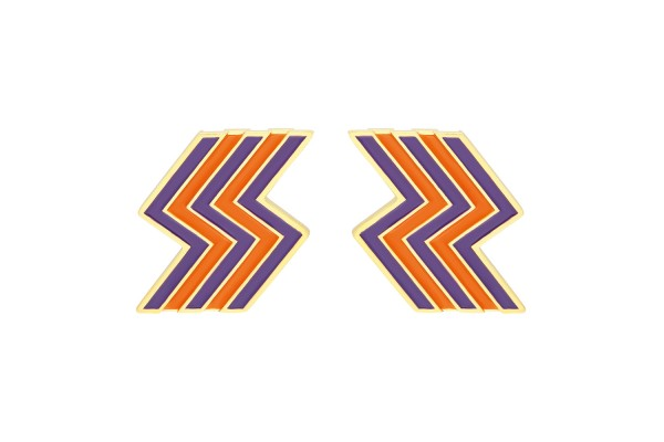 FLASH EARRING - PURPLE & ORANGE ENAMEL