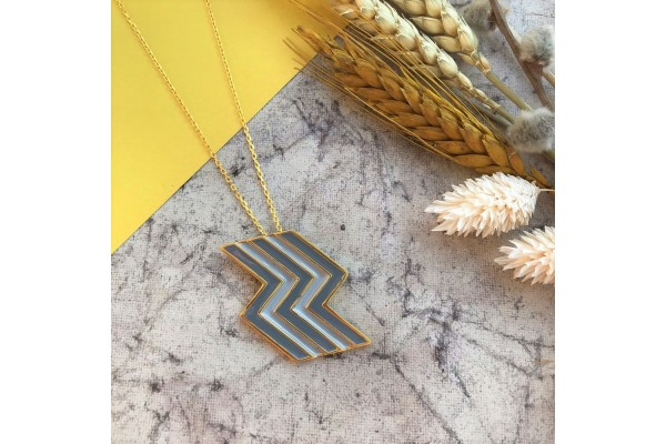 FLASH NECKLACE -SOFT GREY & DARK GREY ENAMEL