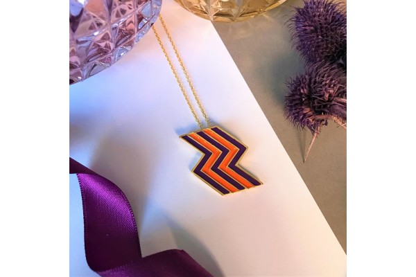 FLASH NECKLACE - PURPLE & ORANGE ENAMEL