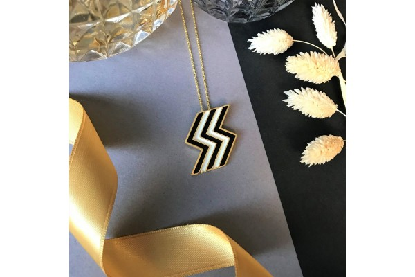 FLASH NECKLACE - BLACK & WHITE ENAMEL