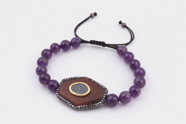Bracelet with Amethyst, Wood and Handcrafted Silver