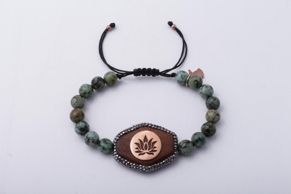 "Bracelet with African Turquoise, Wood and ""Lotus"" Handcraft Silver"
