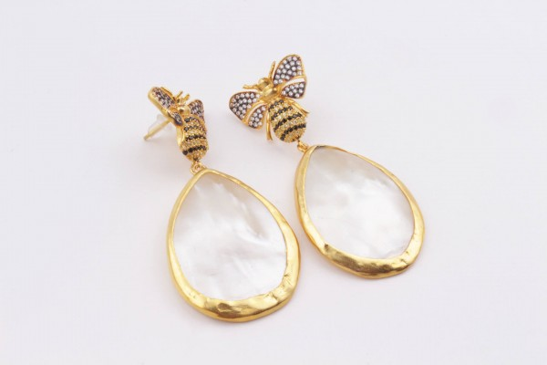 Bee Earring with Zirconed Gold Plated Silver and Mother of Pearl