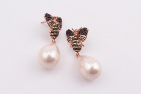 Bee Earring with Zirconed Rose Gold Plated Silver and Pink Pear Majorica