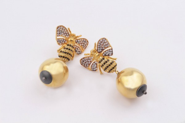 Bee Earring with Zircone  and Gold Plated Silver
