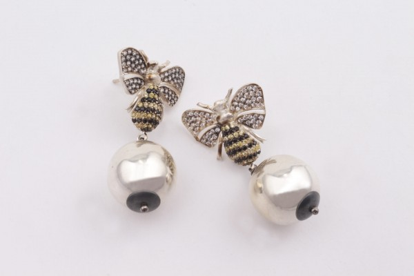 Bee Earring with Zircone and Silver
