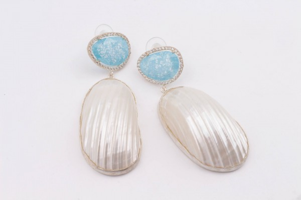 Earring with Aqua Blue Zircone, Nacre and Silver