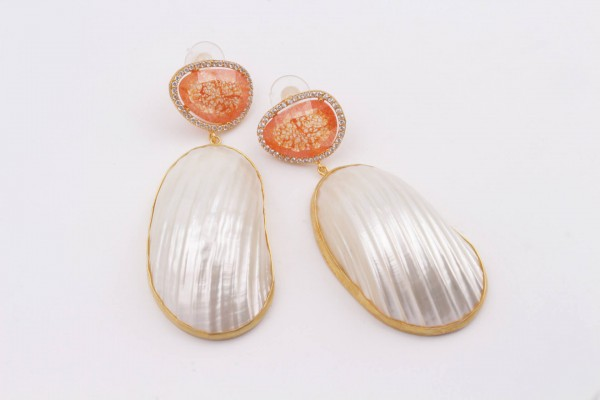 Earring with Orange Zircone, Nacre and Gold Plated Silver