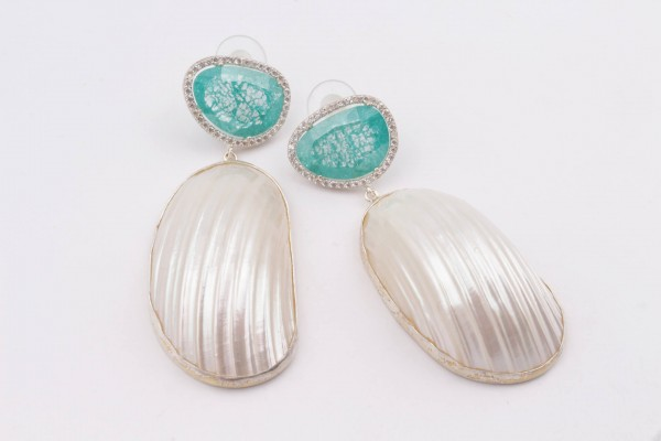 Earring with Mint Zircone, Nacre and Silver