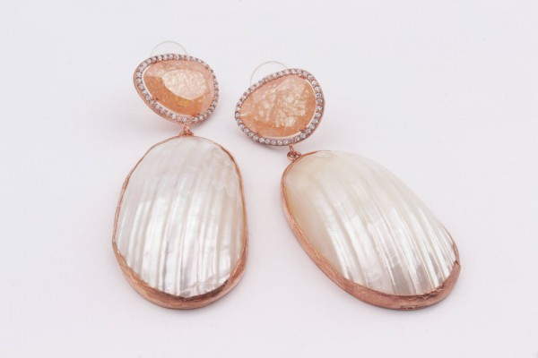 Earring with Brown Zircone, Nacre and Rose Gold Plated Silver