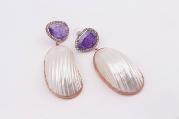 Earring with Purple Zircone, Nacre and Rose Gold Plated Silver