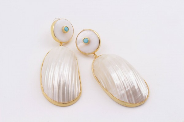 Earring with Nacre, Turquoise Color Zircone and Gold Plated Silver