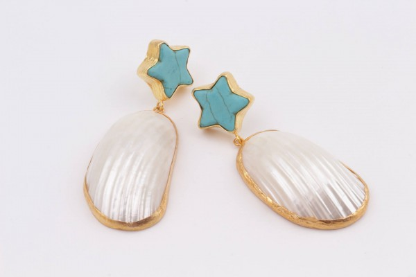 Earring with Mother Of Pearl, Turquoise and Gold Plated Silver